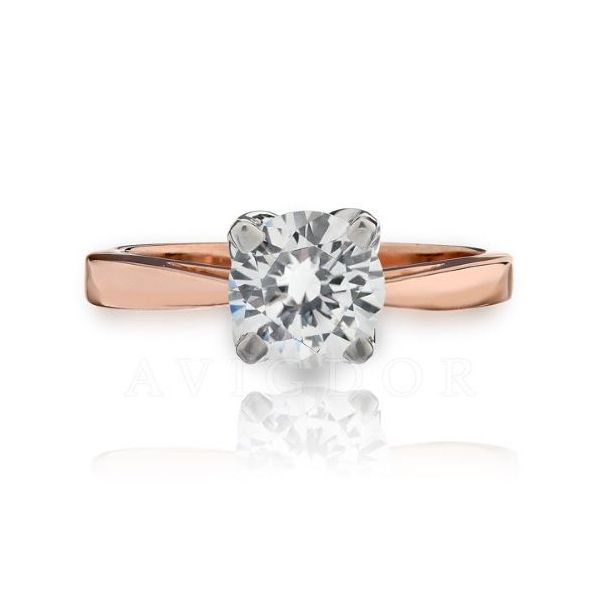 14k RG Open Tapered Shank Solitaire Engagement Ring The Ring Austin Round Rock, TX