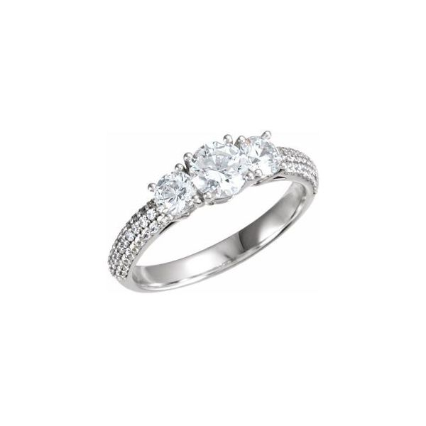 14k WG Vintage Style Pave 3 Stone Engagement Ring The Ring Austin Round Rock, TX