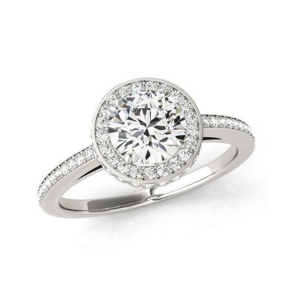 14k WG Round Halo Diamond Engagement Ring The Ring Austin Round Rock, TX