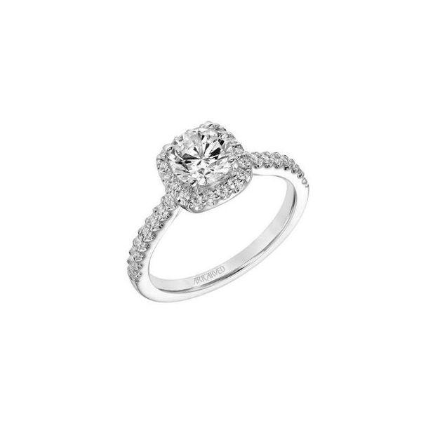 14k WG Cushion Halo Diamond Engagement Ring The Ring Austin Round Rock, TX