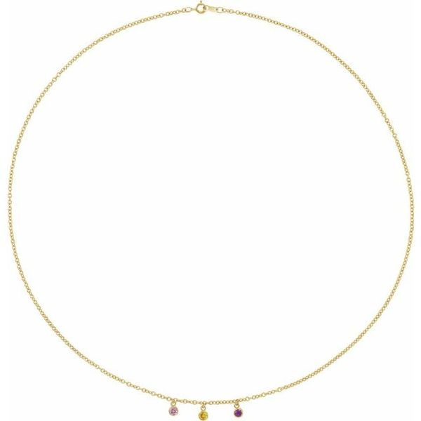 """14K YG or WG 3-stone Family Station 16"""" Necklace Mounting The Ring Austin Round Rock, TX"""