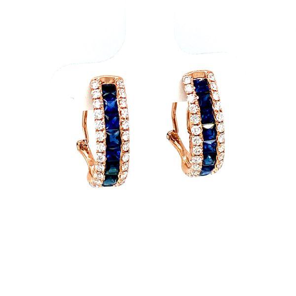 Rose Gold Sapphire Hoop Earrings with Diamonds Toner Jewelers Overland Park, KS