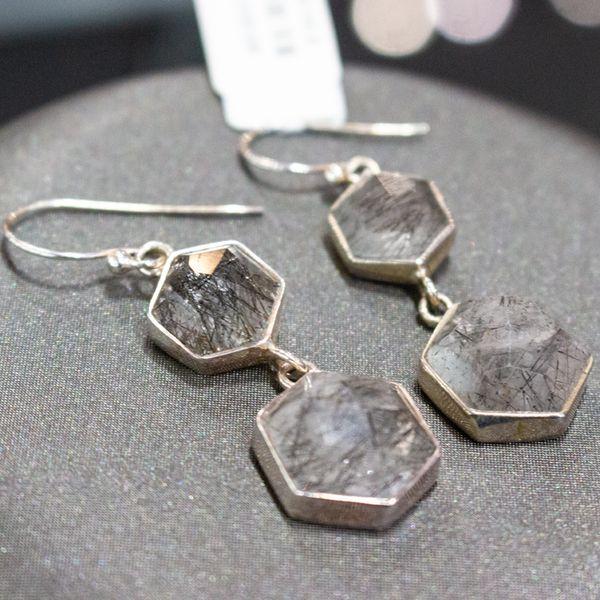 Octagon Rutilated Quartz Earrings Image 3 Toner Jewelers Overland Park, KS