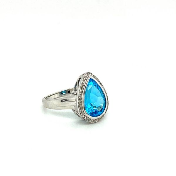 Estate Pear Blue Topaz Ring with Halo Image 2 Toner Jewelers Overland Park, KS