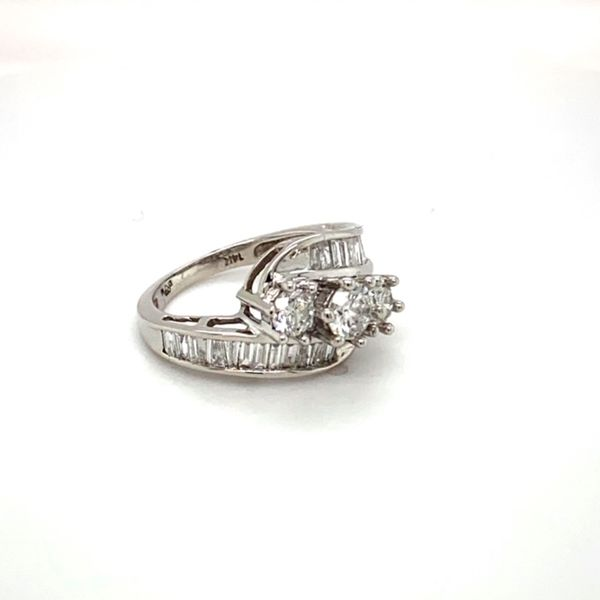 Estate Diamond Bypass Ring with Baguettes Image 3 Toner Jewelers Overland Park, KS