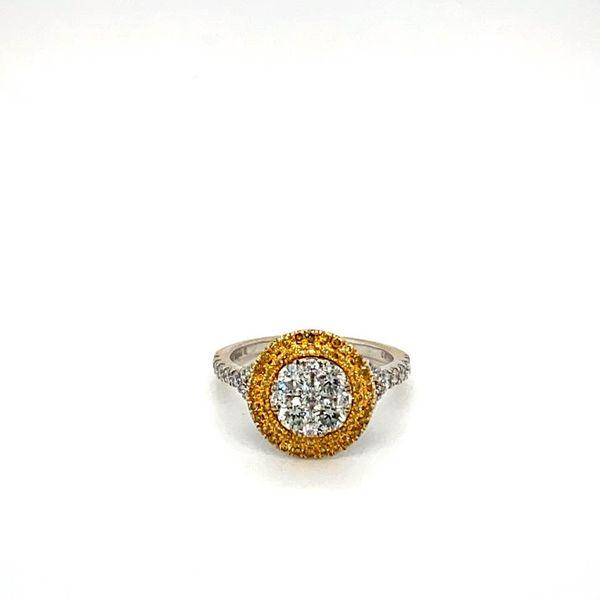 Estate Engagement Ring with Yellow Diamond Double Halo Toner Jewelers Overland Park, KS