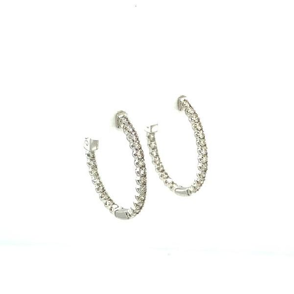 1ct Diamond Inside-Outside Hoop Earrings  Image 4 Toner Jewelers Overland Park, KS