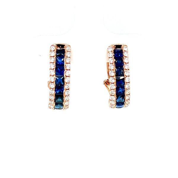 Rose Gold Sapphire Hoop Earrings with Diamonds Image 2 Toner Jewelers Overland Park, KS