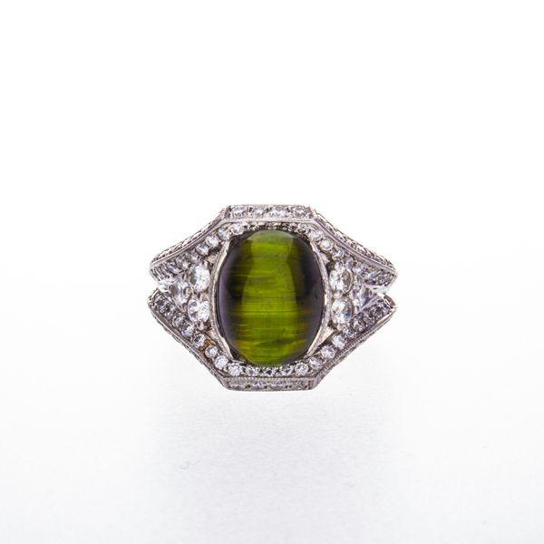 Cat's Eye Tourmaline & Diamond Ring Toner Jewelers Overland Park, KS