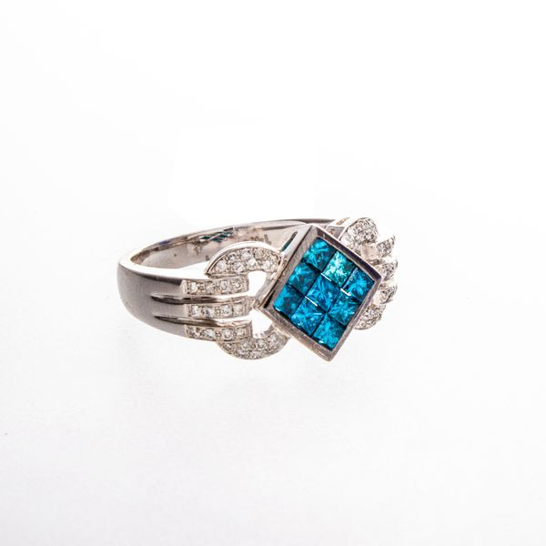 Irradiated Blue & White Diamond Estate Ring Toner Jewelers Overland Park, KS