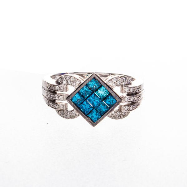 Irradiated Blue & White Diamond Estate Ring Image 2 Toner Jewelers Overland Park, KS