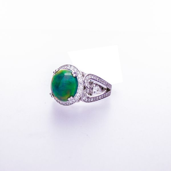 Opal Cabachon Ring with Halo Image 2 Toner Jewelers Overland Park, KS