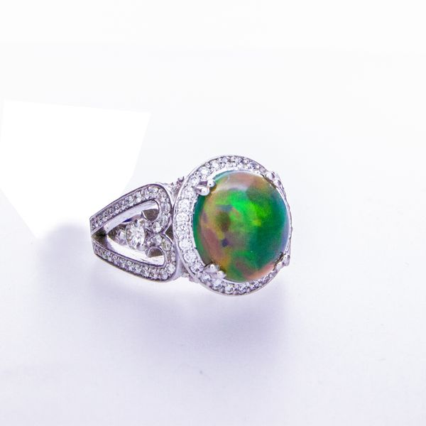 Opal Cabachon Ring with Halo Image 3 Toner Jewelers Overland Park, KS