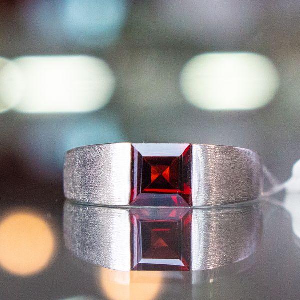 Red Garnet Ring with White Gold Toner Jewelers Overland Park, KS