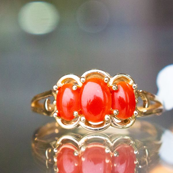 Red Coral Thumb Ring Toner Jewelers Overland Park, KS