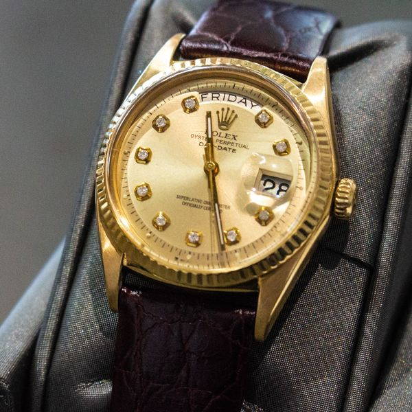 Men's President Rolex with Diamond Dial & Leather Strap