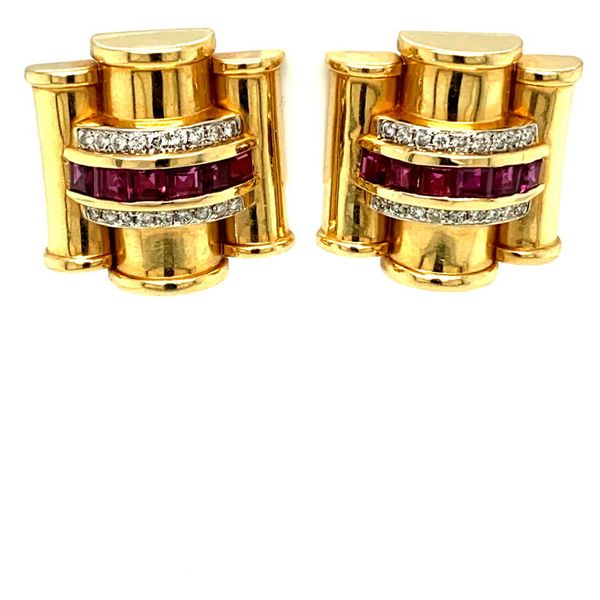 Lady's Vintage Ruby and Diamond Earrings Toner Jewelers Overland Park, KS