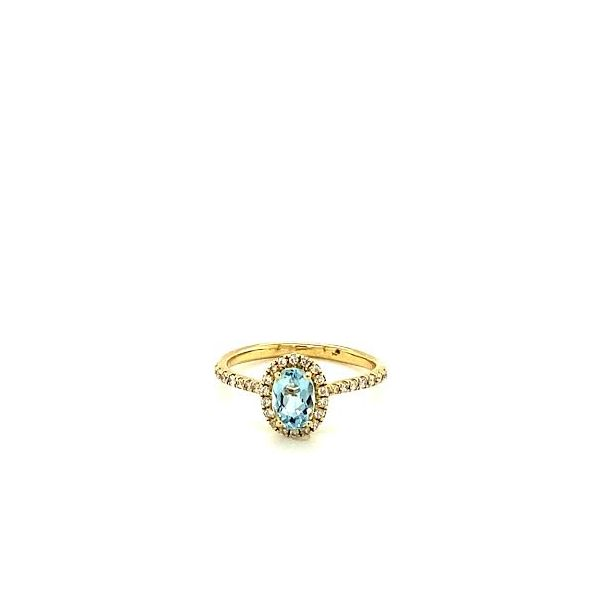 Gold Aquamarine Halo Ring  Image 2 Toner Jewelers Overland Park, KS