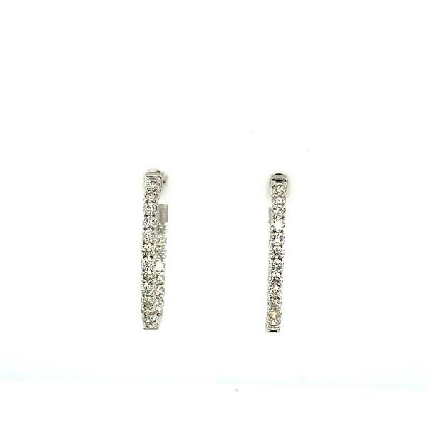 1ct Diamond Inside-Outside Hoop Earrings  Image 3 Toner Jewelers Overland Park, KS