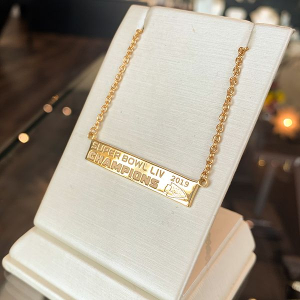 Chiefs Super Bowl Champs Gold Bar Necklace