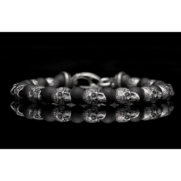 Sugar Skull & Onyx Men's Bracelet Image 2 Toner Jewelers Overland Park, KS