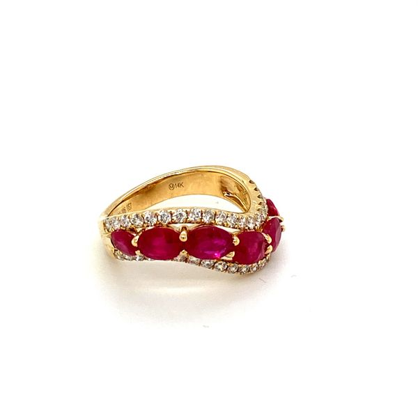 Ruby and Diamond Wave Band Image 2 Toner Jewelers Overland Park, KS