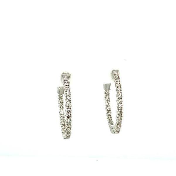 1ct Diamond Inside-Outside Hoop Earrings  Image 2 Toner Jewelers Overland Park, KS