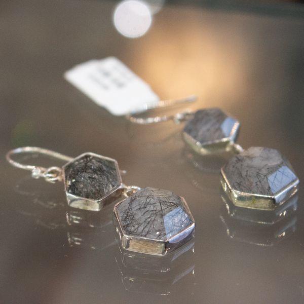 Octagon Rutilated Quartz Earrings Image 2 Toner Jewelers Overland Park, KS