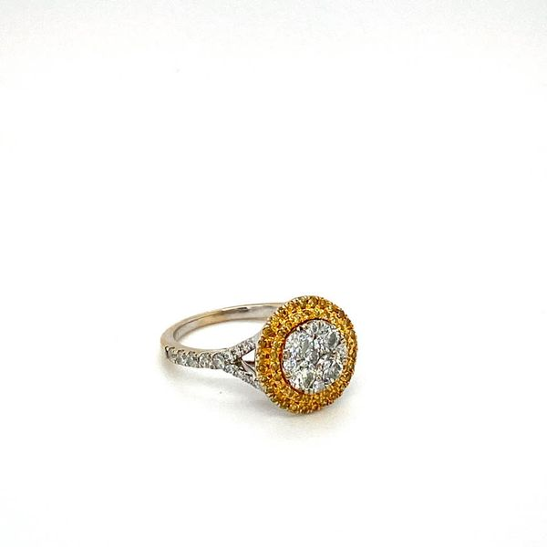 Estate Engagement Ring with Yellow Diamond Double Halo Image 2 Toner Jewelers Overland Park, KS