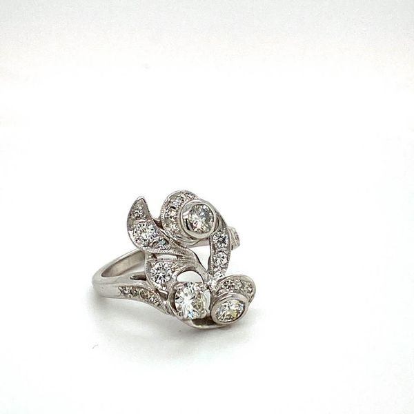 Vintage Floral Estate Diamond Ring Image 2 Toner Jewelers Overland Park, KS