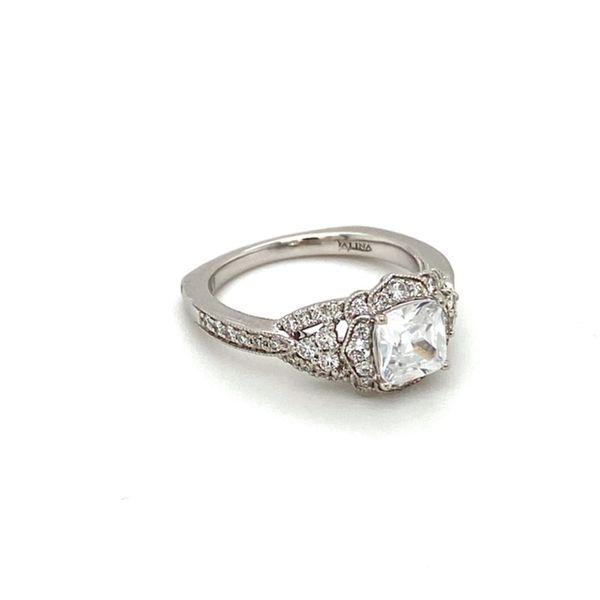 Scalloped Diamond Halo Engagement Ring Setting Toner Jewelers Overland Park, KS