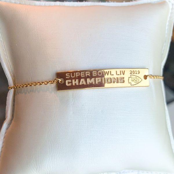 Chiefs Super Bowl Champions Gold Bar Bracelet