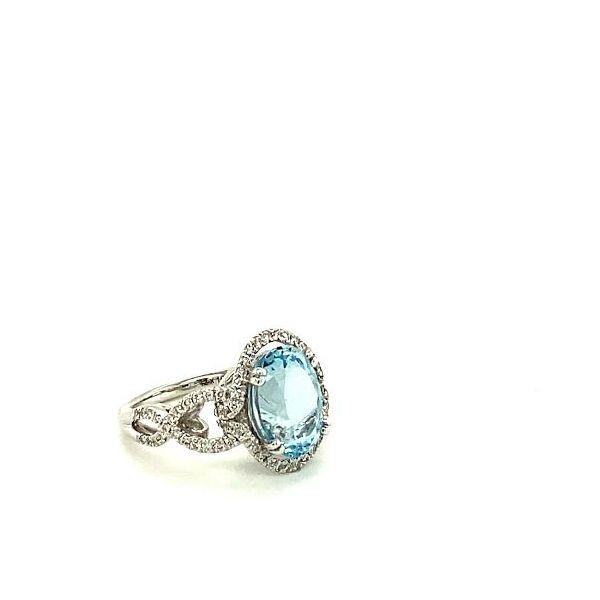 Oval Aqua & Diamond Ring  Image 2 Toner Jewelers Overland Park, KS