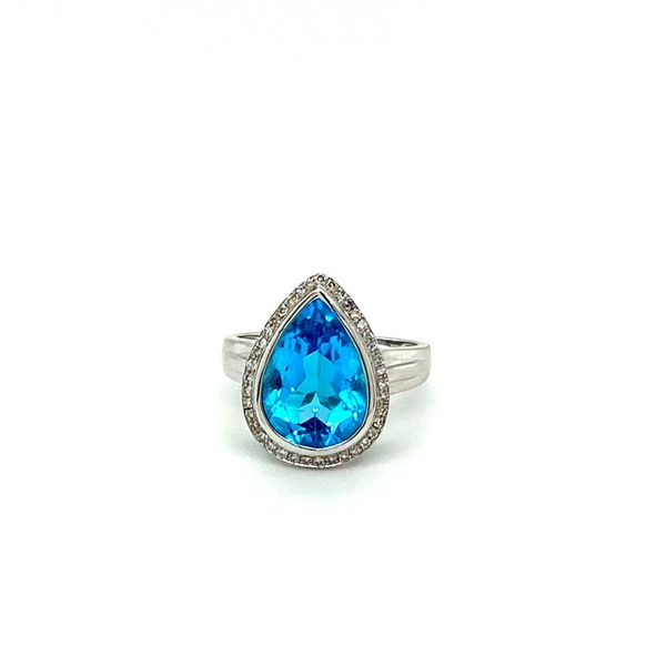 Estate Pear Blue Topaz Ring with Halo Toner Jewelers Overland Park, KS