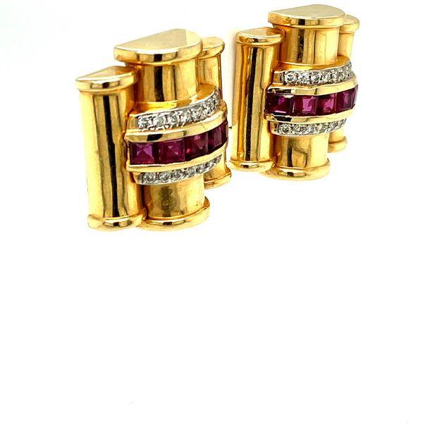 Lady's Vintage Ruby and Diamond Earrings Image 2 Toner Jewelers Overland Park, KS