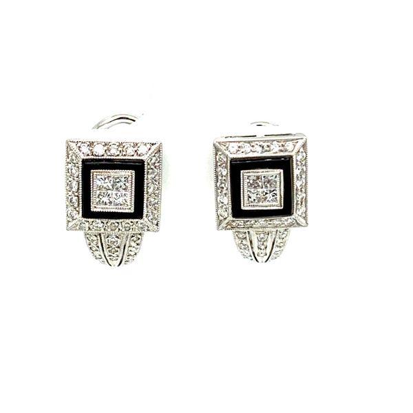 Onyx & Diamond Small Hoop Earrings Toner Jewelers Overland Park, KS
