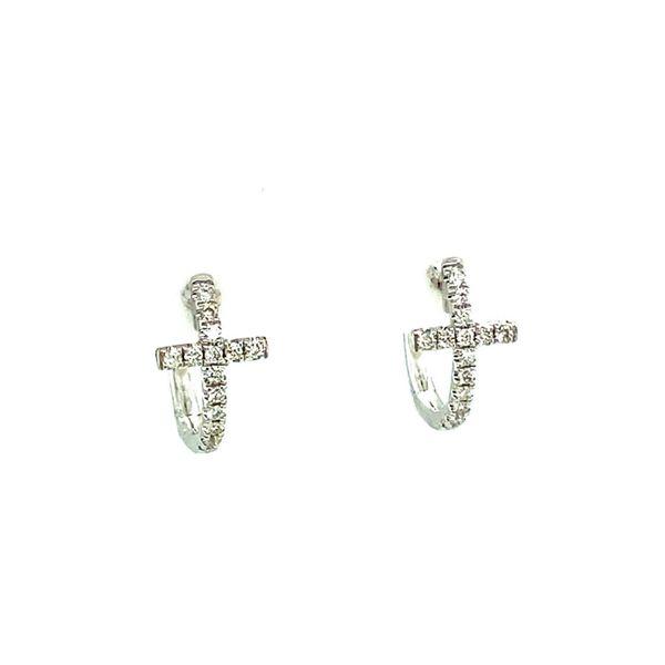 diamond cross hoop earrings
