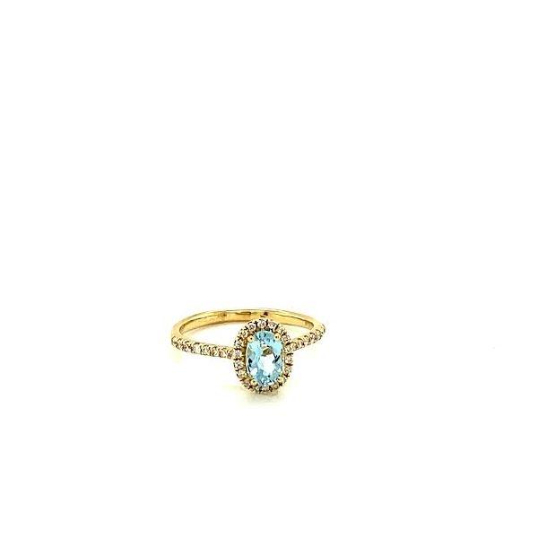 Gold Aquamarine Halo Ring  Toner Jewelers Overland Park, KS