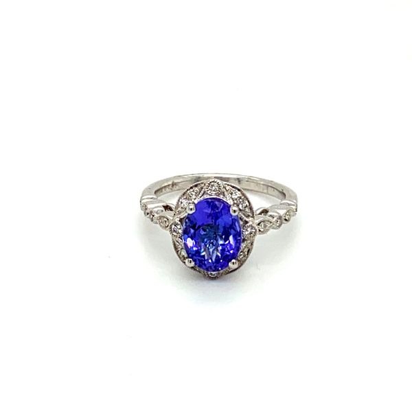 Oval Tanzanite Ring with Scrollwork Diamond Halo Toner Jewelers Overland Park, KS