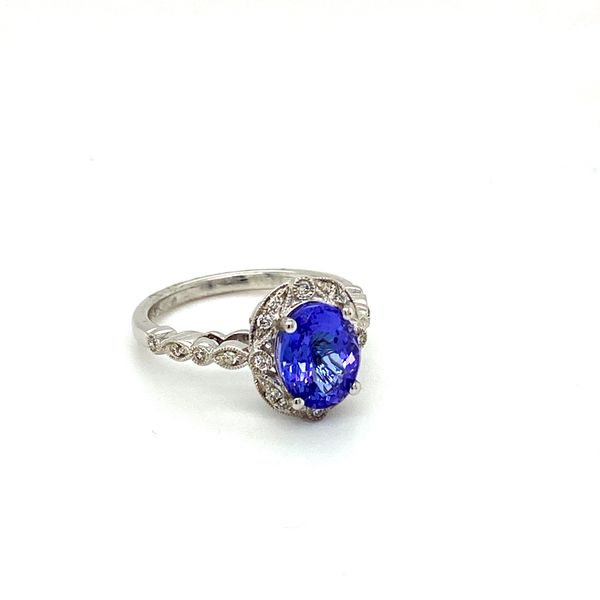 Oval Tanzanite Ring with Scrollwork Diamond Halo Image 2 Toner Jewelers Overland Park, KS