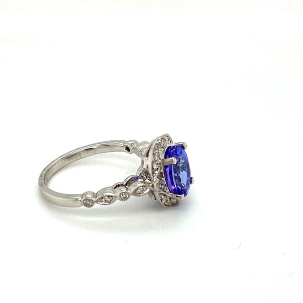 Oval Tanzanite Ring with Scrollwork Diamond Halo Image 3 Toner Jewelers Overland Park, KS