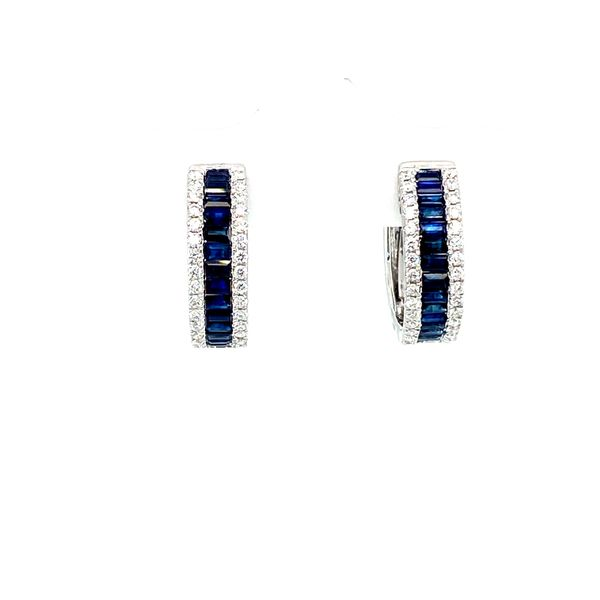 Sapphire Hoop Earrings with Diamonds Image 2 Toner Jewelers Overland Park, KS