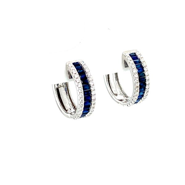 Sapphire Hoop Earrings with Diamonds Image 3 Toner Jewelers Overland Park, KS