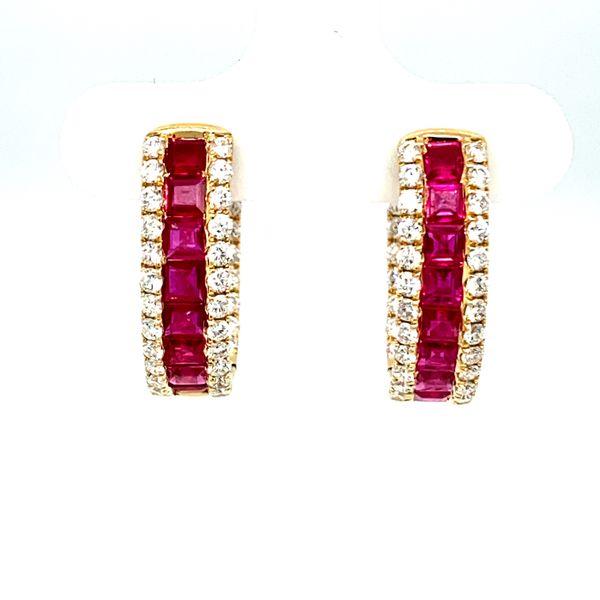 Ruby Hoop Earrings with Diamonds Image 2 Toner Jewelers Overland Park, KS