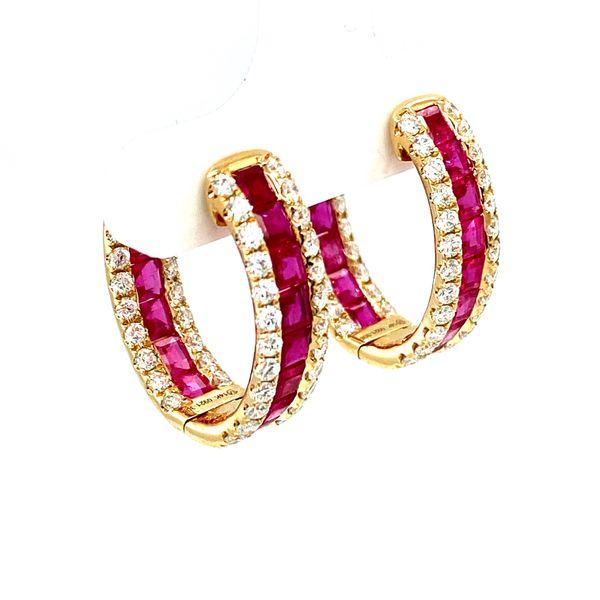 Ruby Hoop Earrings with Diamonds Image 3 Toner Jewelers Overland Park, KS