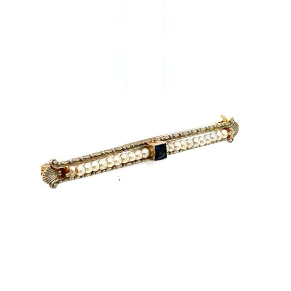 Estate Pearl and Sapphire Brooch Image 2 Toner Jewelers Overland Park, KS