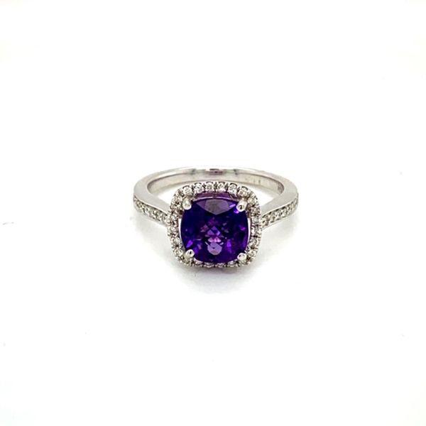 Round Amethyst Ring with Diamond Halo Toner Jewelers Overland Park, KS