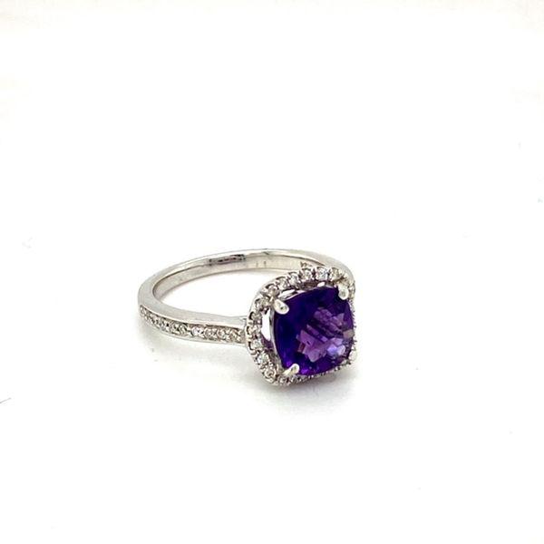 Round Amethyst Ring with Diamond Halo Image 2 Toner Jewelers Overland Park, KS