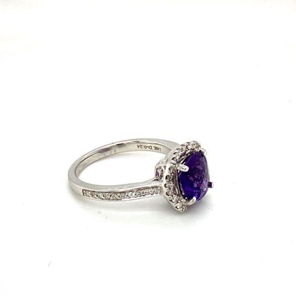 Round Amethyst Ring with Diamond Halo Image 3 Toner Jewelers Overland Park, KS
