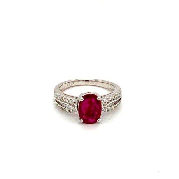 Oval Ruby Ring with Diamond Shank Toner Jewelers Overland Park, KS